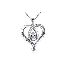 925 Sterling Silver Jewelry Engraved Love Heart Pendant Necklace Gift for Women Girls Mum