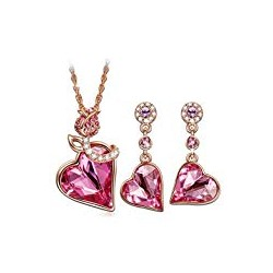 QIANSE Christmas Jewellery Set Gifts Rose Lover Rose Gold Plated Necklace Earrings Jewelry Set with Swarovski Crystals
