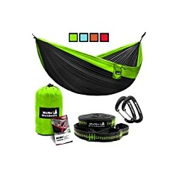 Lightweight Double Camping Hammock - Adjustable Tree Straps & Ultralight Carabiners Included