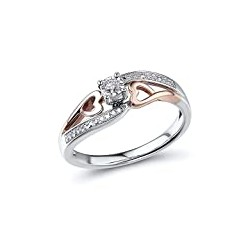 Diamond Promise Ring in 10k Rose Gold and Sterling Silver