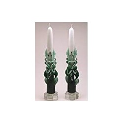Shaded Green Carved St. Patrick's Day Shamrock Tapers