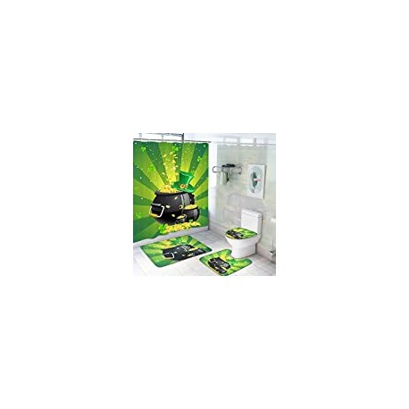 4 Pcs St.Patrick's Day Shower Curtain Sets with Non-Slip Rugs