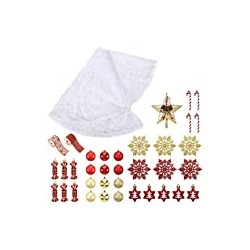 Full Set of Christmas Tree Skirt Kit with 30 Hanging Ornaments and Topper Star,