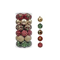 Valery Madelyn 30ct 60mm Traditional Red Green Gold Christmas Ball
