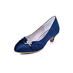 Elegantpark Women Closed Toe Comfort Heel Rhinestone Satin Wedding Bridal Shoes