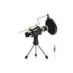 Studio Recording Microphone, ZealSound Condenser Broadcast Microphone w/Stand Built-in Sound Card Echo Recording Karaoke Singing