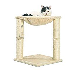AmazonBasics Cat Condo Tree Tower With Hammock Bed And Scratching Post - 16 x 20 x 16 Inches, Beige