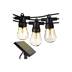 Brightech Ambience Pro - Waterproof, Solar Powered Outdoor String Lights - 27 Ft Vintage Edison